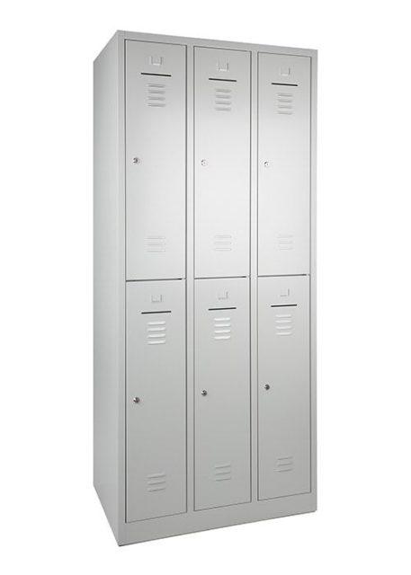 Garderobekast 6 deurs 180hx90bx50d grijs